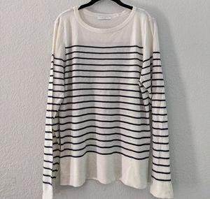 Sandro cream navy wool cashmere sweater XL